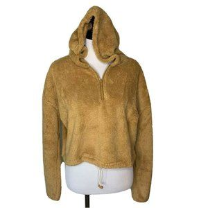Hyfve Womens Fuzzy Cropped Hoodie Brown Tan Med